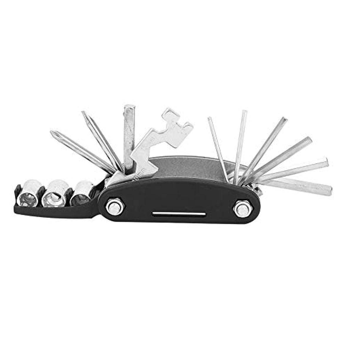 ビデオ改修チョークパンク修理キット 携帯型 自転車修理セット 16-in-1マルチツール 折りたたみ多機能工具セット 持ち運び便利