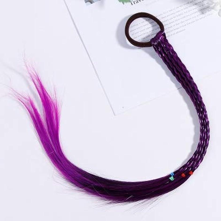 スズメバチセンチメンタルすなわちHairpinheair YHM 2 PCSカラフルウィッグポニーテール髪飾りヘッドバンドラバーバンドビューティーヘアバンド(赤) (色 : 紫の)