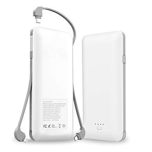モバイルバッテリー 3つケーブル内蔵 大容量【PSE認証済】10000mAh...