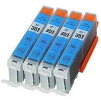 BCI-351XLC キャノン 互換インク シアン 4個セット BCI-351C Canon 1年保証付 ICチップ付 プリンター保証付
