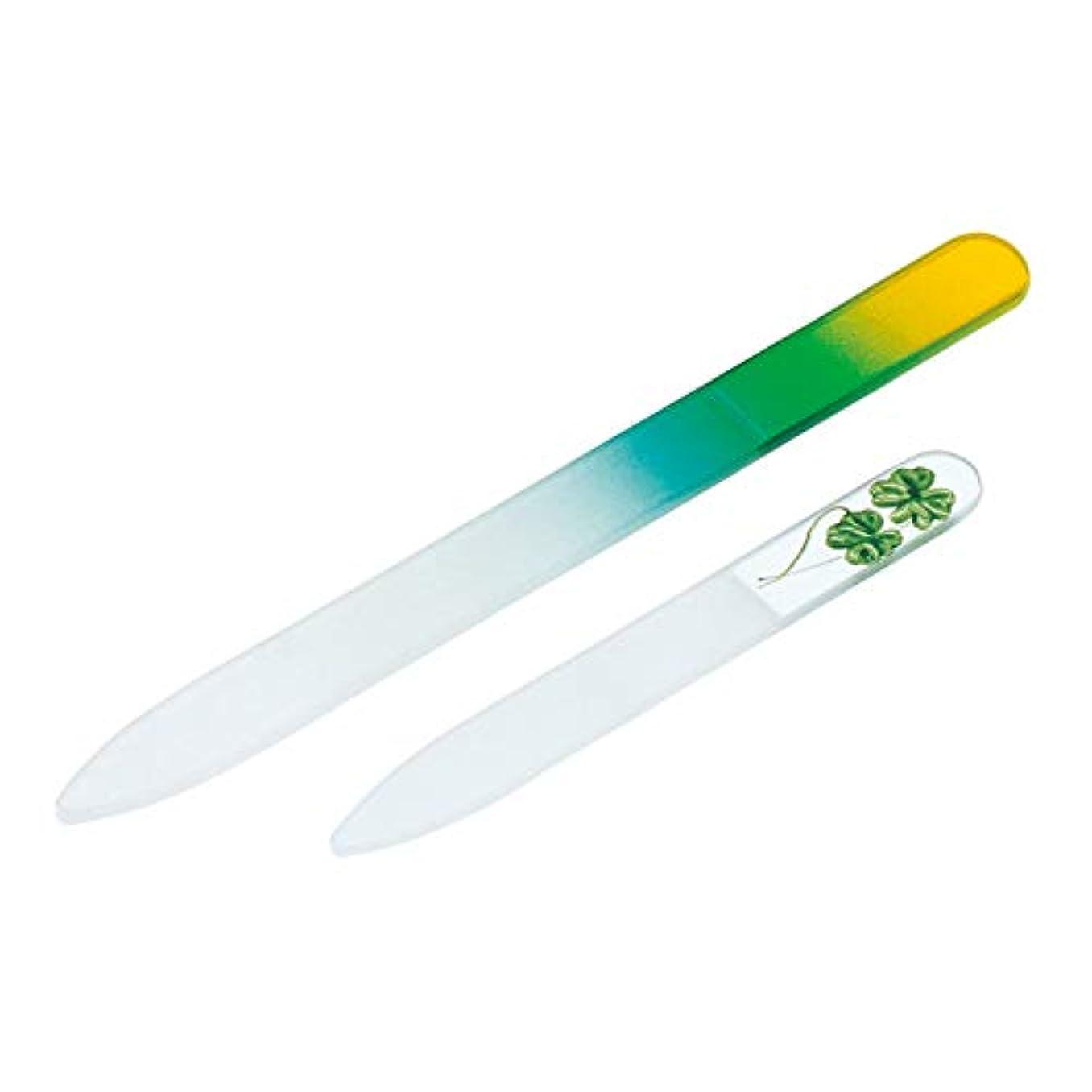 庭園簡単に素敵なガラス製爪やすり 大小2個セット ネイルケア 水洗い可 子ども ペット 携帯用 つめやすり 両面削れる チェコ製