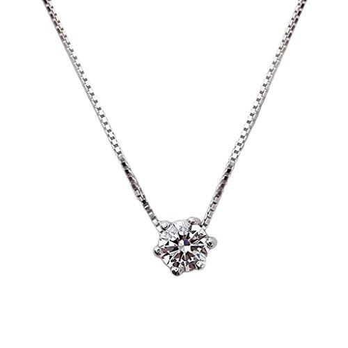 [比翼堂]レディース ネックレス シンプル 「 シンプル の 一粒 ダイヤモン ド」 ステンレス CZキュービックジルコニア プレゼント 高級ケース付き