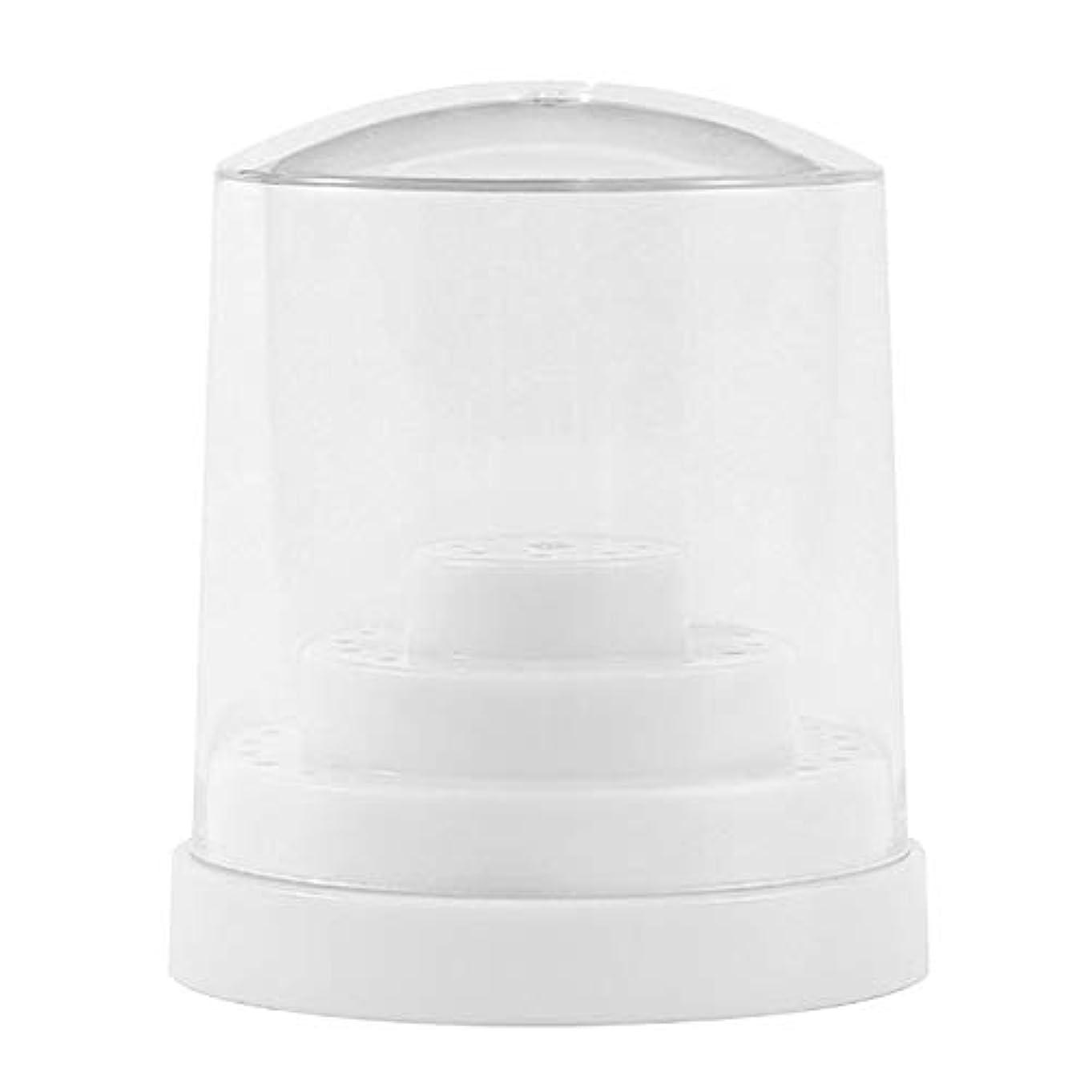 活性化偏心マウスピースCUTICATE ネイルドリル カーバイド合金 ネイルアート ネイル道具 研磨 ドリル収納ケース 三層48穴収納 - ホワイト