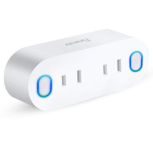 スマートWIFIプラグ、PanamalarダブルスマートコンセントMini2in1、エネルギー監視及びタイマー機能付き Alexa&Googleアシスタントに適応 任意のポジションで設備を制御可能 最大15Aのサージプロテクタ (1個入り)