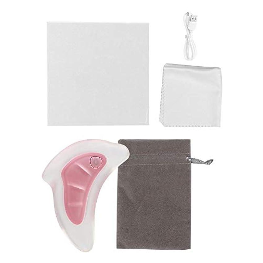 縞模様のパントリーアルバニー2色スクレーピングマッサージャー - フェイスリフティングスクレーパー、グアシャツール - アンチエイジング、アンチリンクルマッサージ&フェイシャルグアシャ、カラフルなライトを廃棄するための楽器(ピンク)