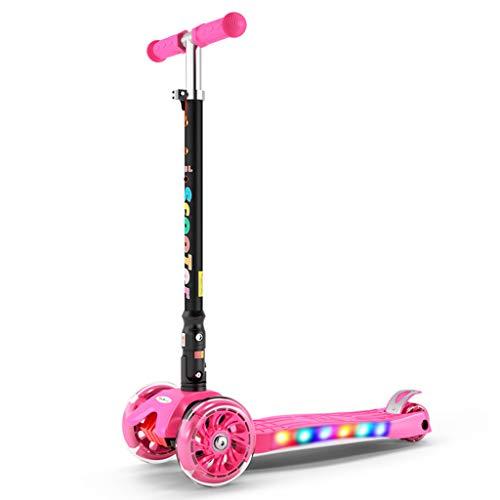 キックボード キックスクーター 女の子用ピンクスクーター、軽...