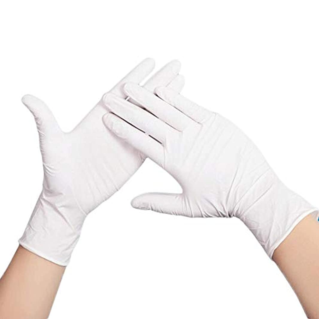 アトミック争いレガシー乳白色の11インチの使い捨て可能な粉体検査ゴムラテックス手袋 - 着用が簡単で快適なフィット YANW (色 : A, サイズ さいず : M m)