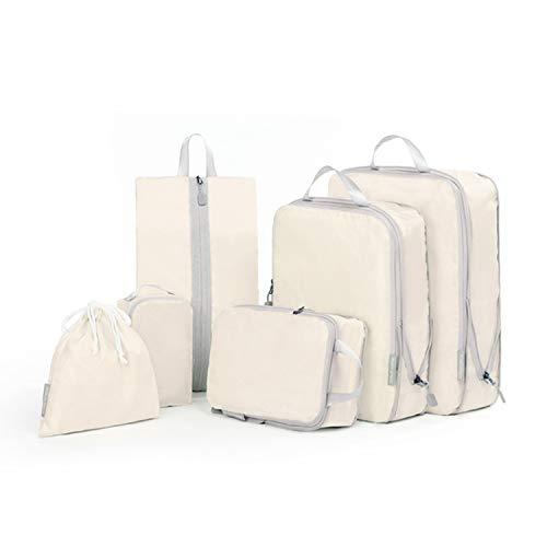 SUPON 旅行圧縮バッグ トラベルポーチ アレンジケース 6点 セット超便利ファスナー圧縮袋 大容量 軽量 防水 旅行/出張/整理用 (クリーム)