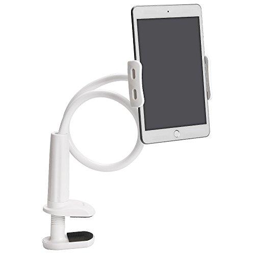 Tryone寝ながらタブレットスタンド  根元強化 フレキシブルアーム スマホipad Android iphoneホルダー マウントNintendo Switch グーズネック360°回転 高さ調節 75cm (ホワイト)