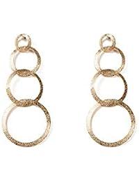 Gold Tone Sand Blast Circle Drop Earrings