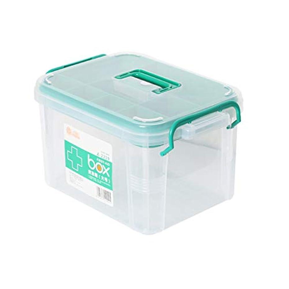 樹皮導出ジャングルXKJPShop 救急箱 薬箱応急処置収納ボックス医療用チェストピルオーガナイザー 応急処置ケース、家庭、職場、学校 (Color : Clear, Size : L)