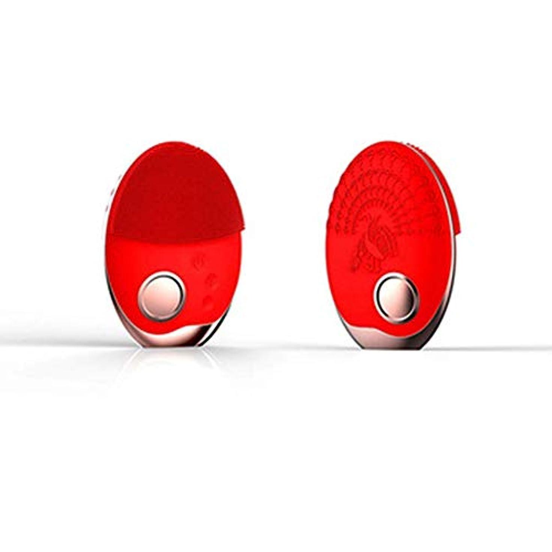 クリック士気行動電気洗顔ブラシシリコーン、フェイスマッサージャー超音波振動防水ディープエクスフォリエーター、充電式アンチエイジングスキンクレンザー,赤