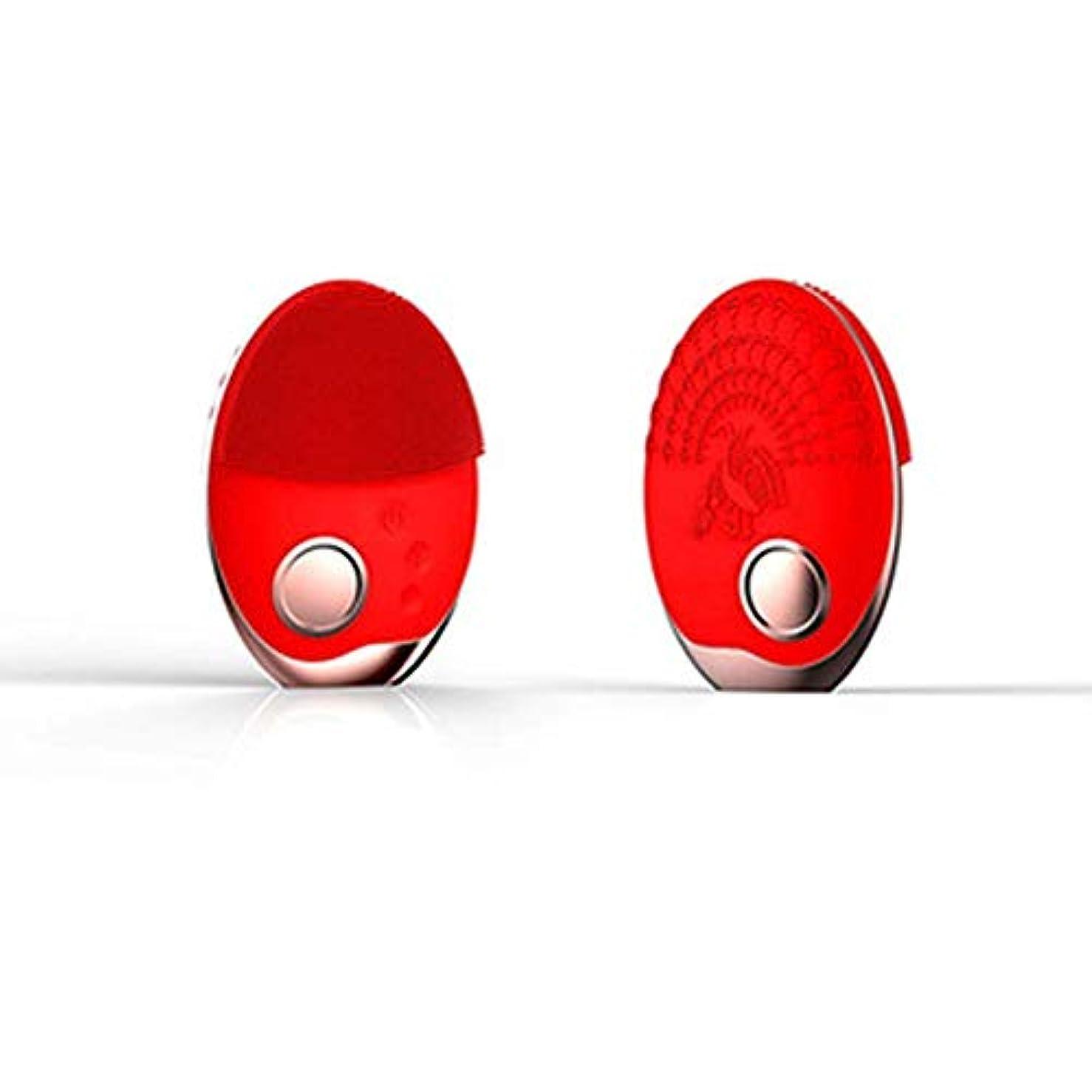 告白するアシスタントバーマド電気洗顔ブラシシリコーン、フェイスマッサージャー超音波振動防水ディープエクスフォリエーター、充電式アンチエイジングスキンクレンザー,赤