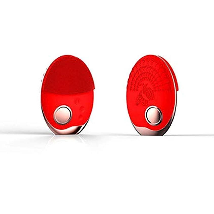 ミニチュア治安判事手電気洗顔ブラシシリコーン、フェイスマッサージャー超音波振動防水ディープエクスフォリエーター、充電式アンチエイジングスキンクレンザー,赤