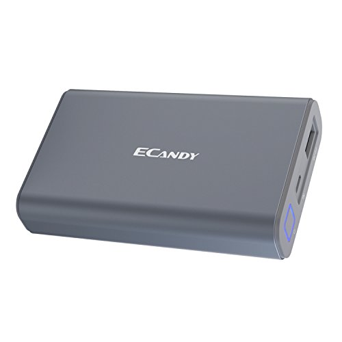【モバイルバッテリー大容量】Ecandy 10050mAh最小最軽量 急速充電器 iPhone&Android対応 (グレー)