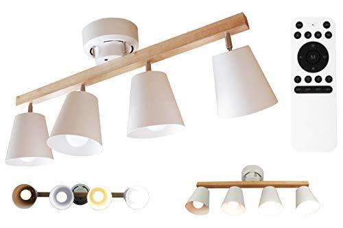 マエカワ 電球 付き Wifi リモコン 式 ペンダント 4 灯 別々 無段階 調光 調色 ウッド フレーム スチール シェード ランプ 角度 調整 シーリング キッチン リビング 天井 照明 スポット ライト おしゃれ 北欧 デザイン
