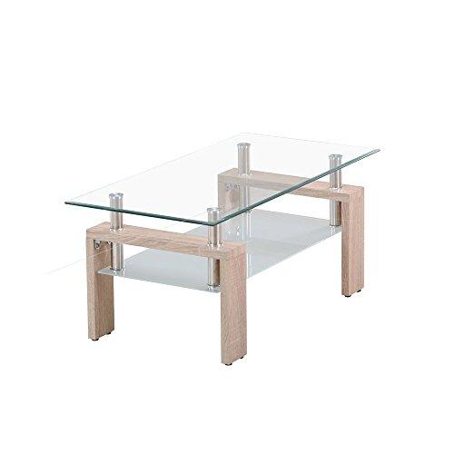 (OSJ)ガラステーブル コーヒーテーブル 幅98cm 強化ガラス天板 (クリア&木目脚)