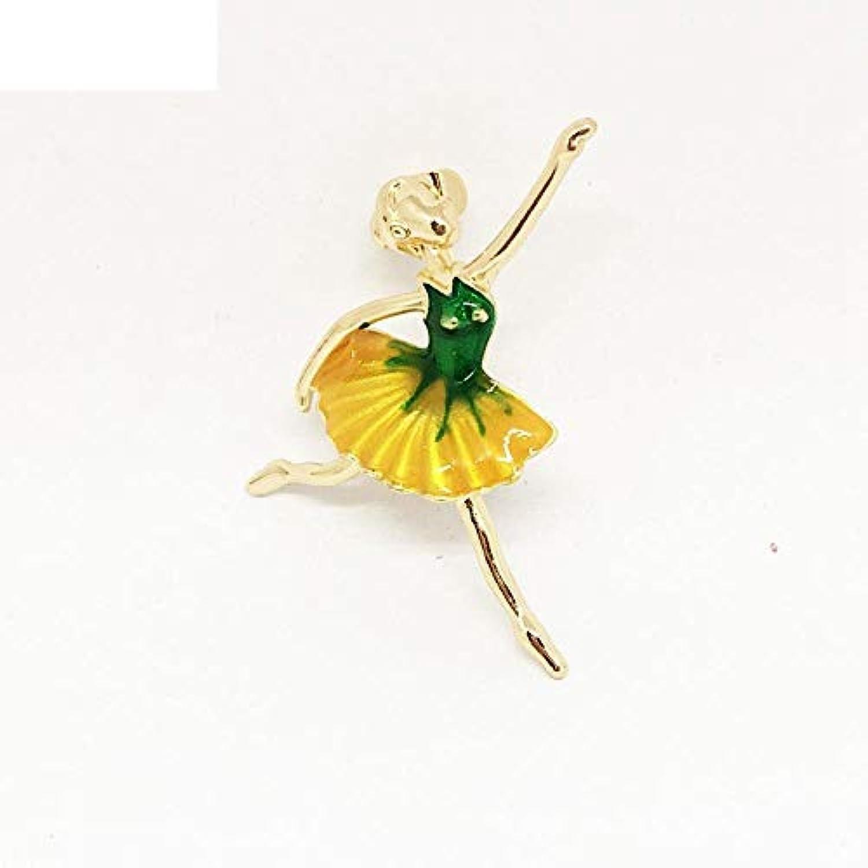 Dixinla ブローチ 絶妙なダンス スポーツガール ダイヤモンド エナメル グレーズ ドロップ オイル 5つ葉 フラワー ガーメント アクセサリー