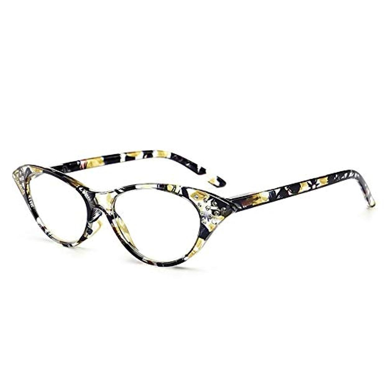 表現盲信実行ファッションキャットアイラインストーンスタッド老眼メガネT18158男性と女性高齢者ギフトおばあちゃんおじいちゃんのメガネ-黄色