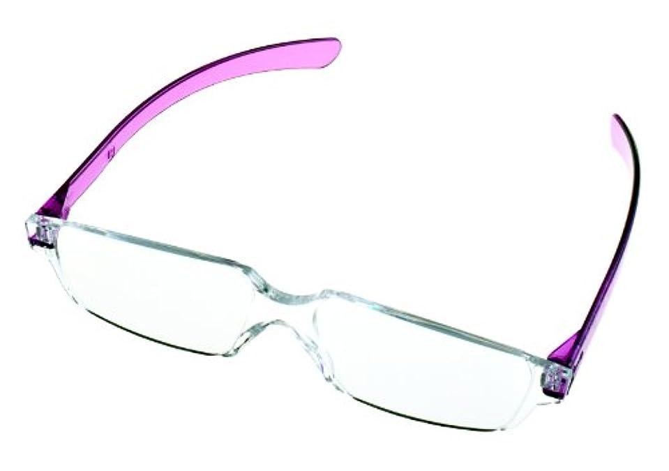全教図 老眼鏡 +3.0 度数 縁なし ど忘れシニアグラス ラベンダー