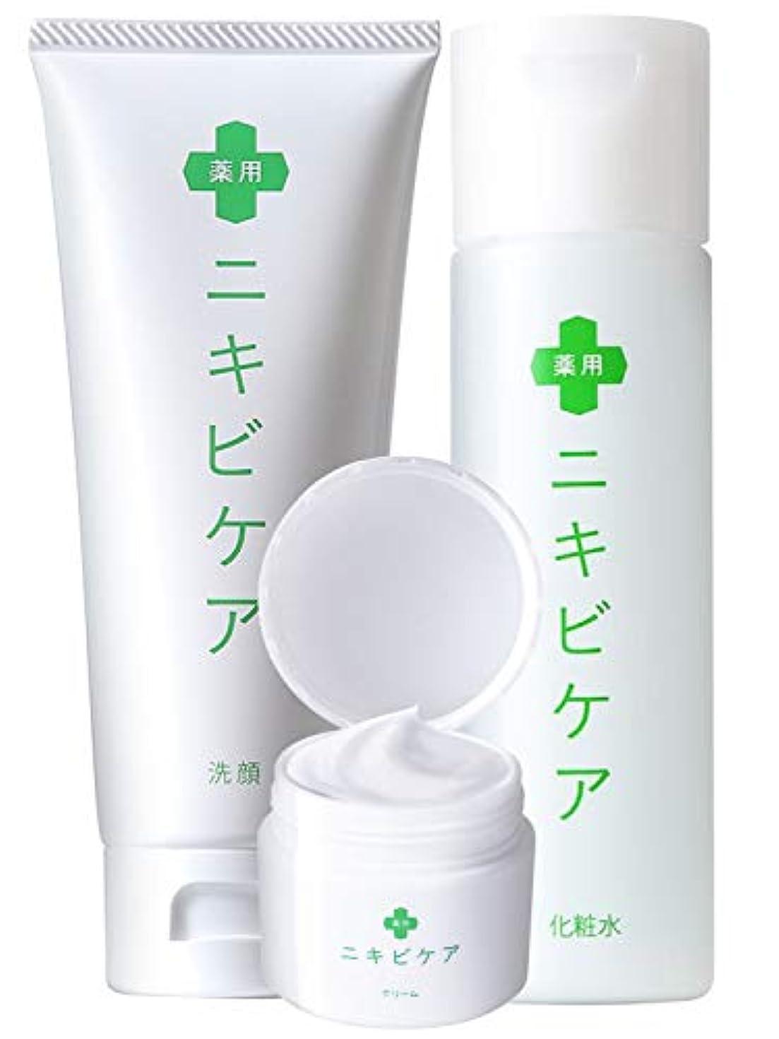 表面見せます自己尊重医薬部外品 薬用 ニキビケア クリーム & 化粧水 & 洗顔 基礎 セット「 香料 無添加 大人ニキビ 予防 」「 あご おでこ 鼻 アクネ 対策 」「 ヒアルロン酸 *1 コラーゲン *2 プラセンタ *3 配合 」 メンズ レディース 100g & 120ml & 50g