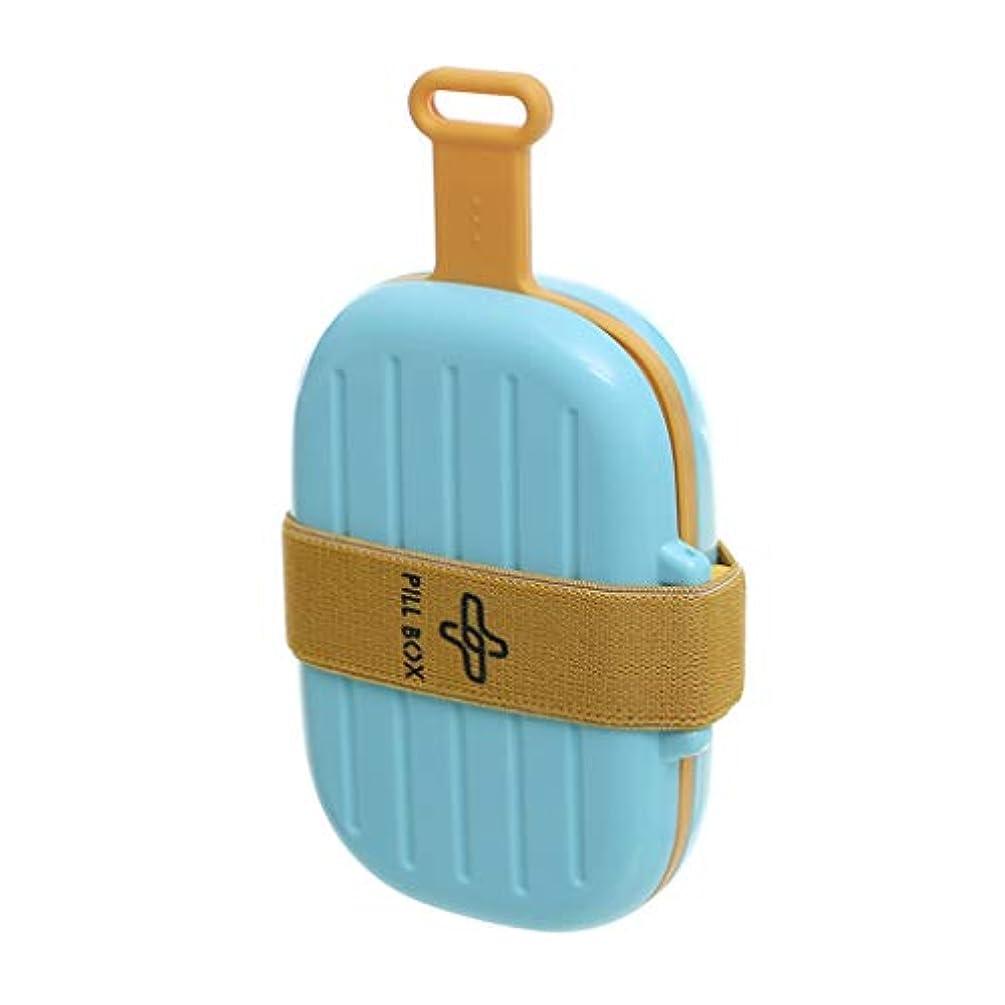 小さなピルボックスポータブルミニ防湿ポータブル薬箱1週間収納7日収納小さなピルシール箱 LIUXIN (Color : Blue, Size : 15cm×3cm×8cm)