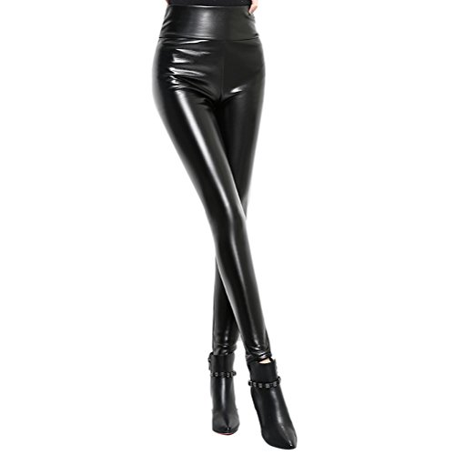Zhhlinyuan ファッションレディース Ladies Candy Color High Waisted PU leather Pants Stretchy Leggings Striking Womens Plus