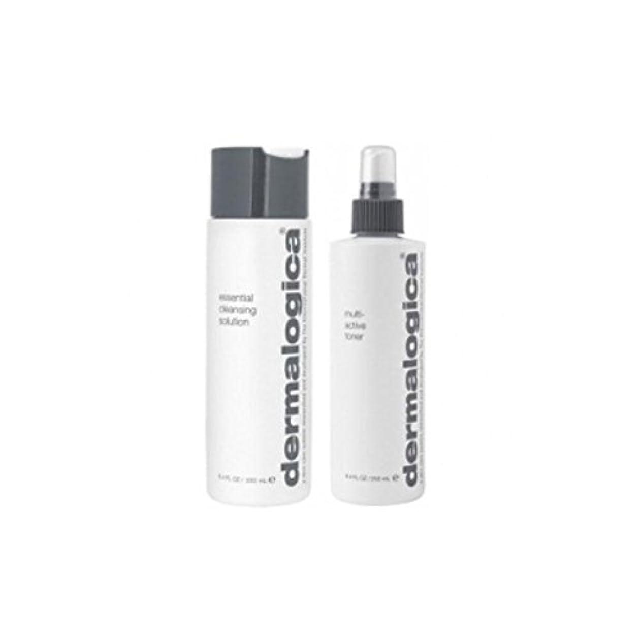 素子文字まっすぐにするダーマロジカクレンジング&トーンデュオ - 乾燥肌 x4 - Dermalogica Cleanse & Tone Duo - Dry Skin (Pack of 4) [並行輸入品]