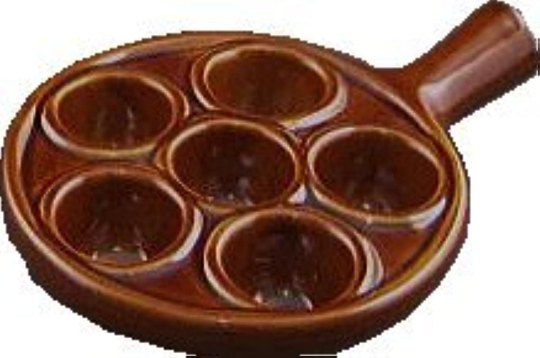 元祖エスカルゴ皿プレート6穴手付きアメ色オーブン料理用 Escargot