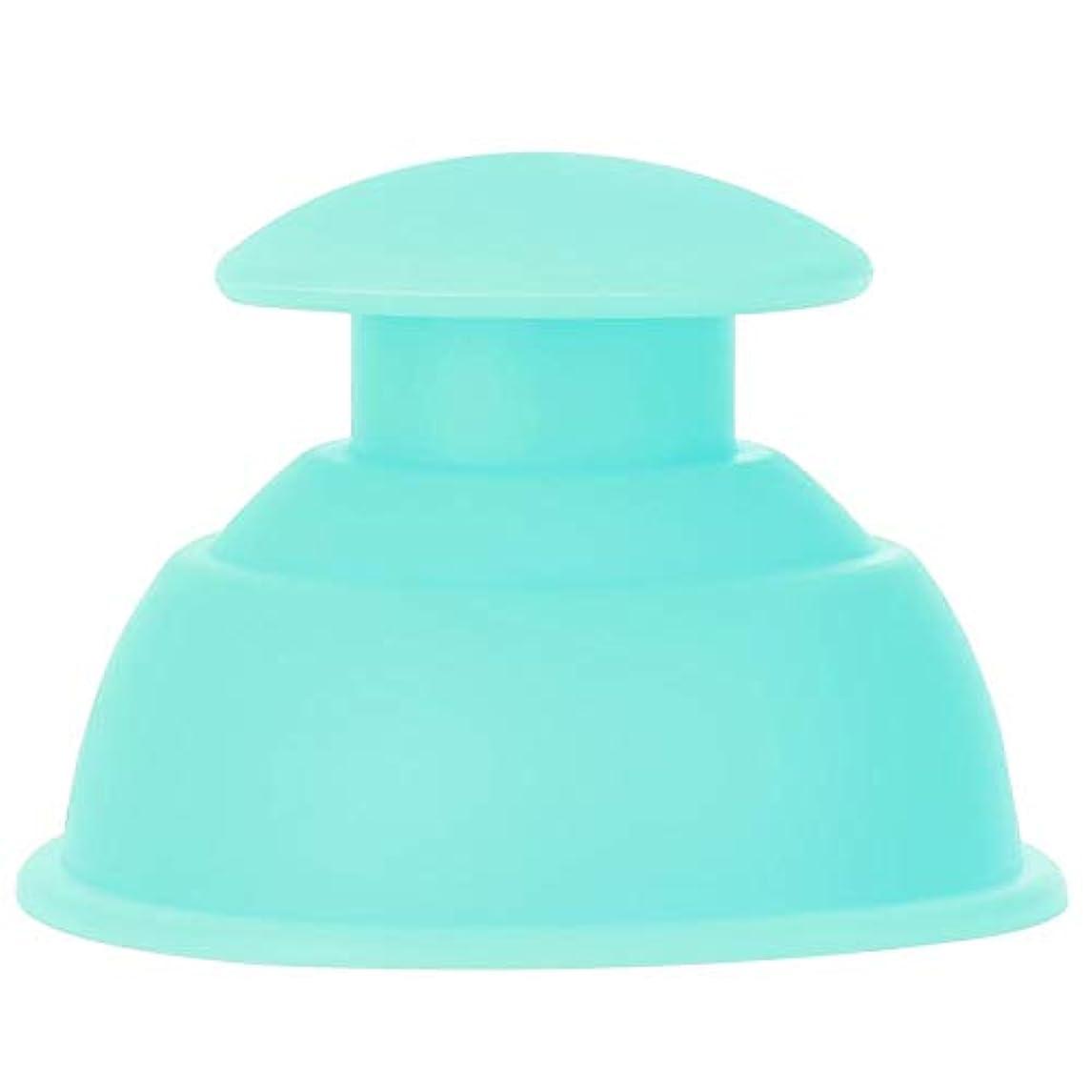 スーツケースパステル症候群7種類のカッピングカップマッサージセット、シリコーン水分吸収剤アンチセルライトバキュームによる 全身疲れの緩和(グリーン)
