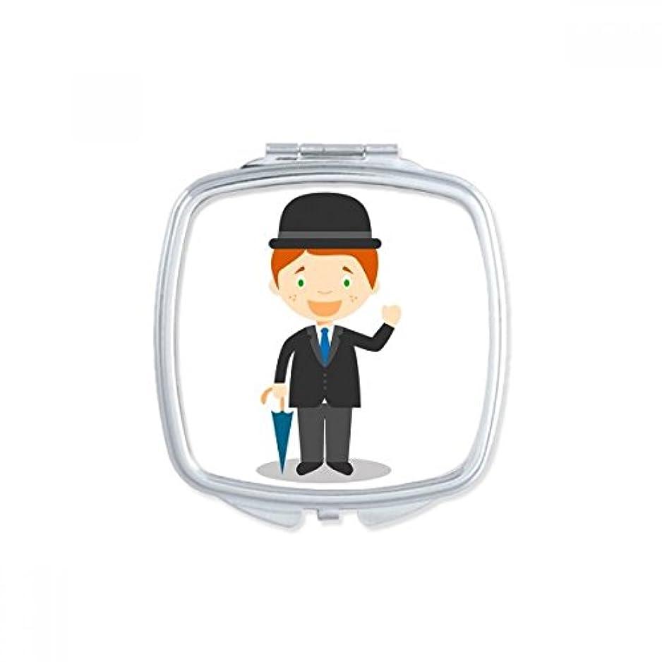 無実外観なめらか黒い紳士はイングランドの漫画 スクエアコンパクトメークアップポケットミラー携帯用の小さなかわいいハンドミラープレゼント