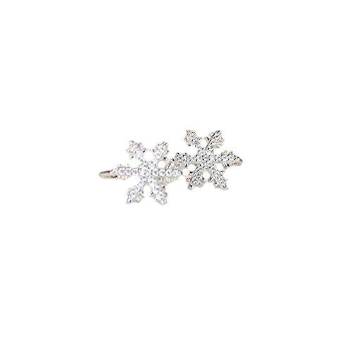 [해외][틴틴 로즈] TingTing Rose 여성 925 페이크 피어싱이야 카후 간단한이야 카후 귀걸이 눈송이/[Ting Ting Rose] TingTing Rose Ladies Silver 925 Fake Piercing Ear Cuff Simple Ear Cuff Earrings Snowflake