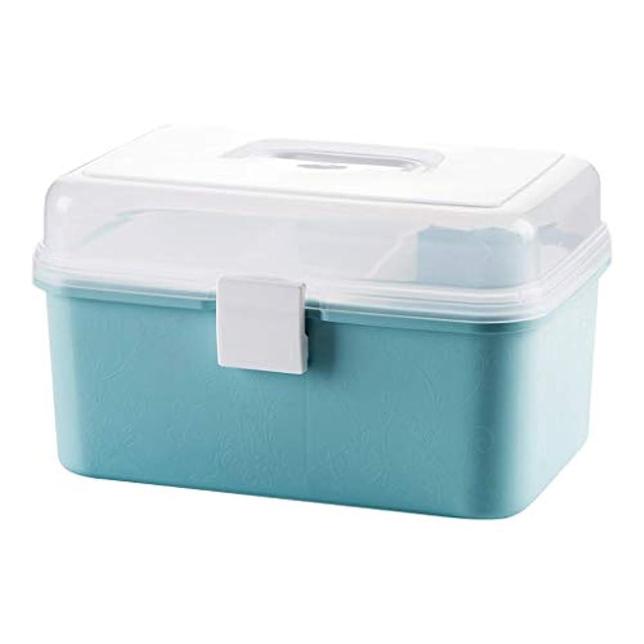 吸収するポップ以来Xuping shop 応急処置キット医療ボックスドラッグ収納オーガナイザーボックス - 16x16x25cm、ブルー