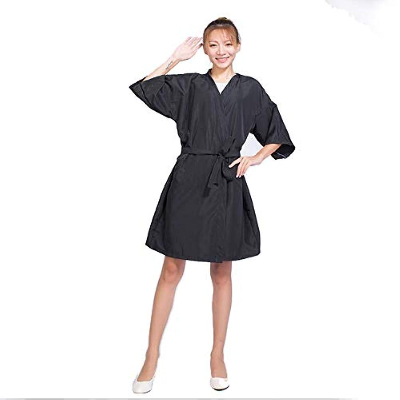 かろうじて小競り合い山岳Chinashow 着物スタイルサロンクライアントガウンローブサロンスモックブラック