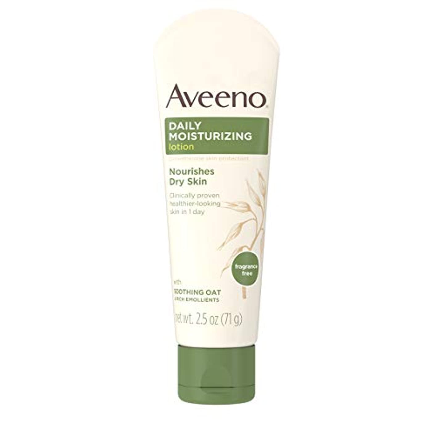 シミュレートする美的たまにAveeno Daily Moisturizing Lotion with Oatmeal and Rich Emollients Fragrance Free, 2.5 oz by Aveeno