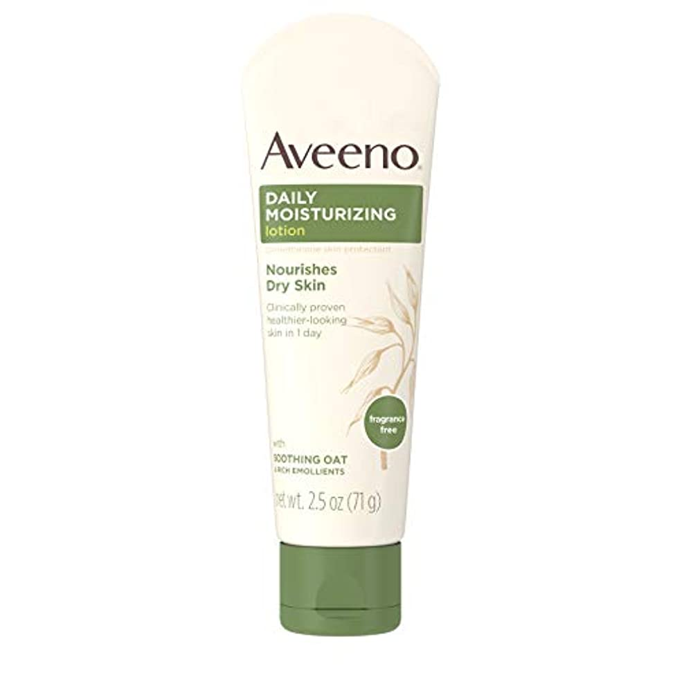 兵士想定する閉じるAveeno Daily Moisturizing Lotion with Oatmeal and Rich Emollients Fragrance Free, 2.5 oz by Aveeno