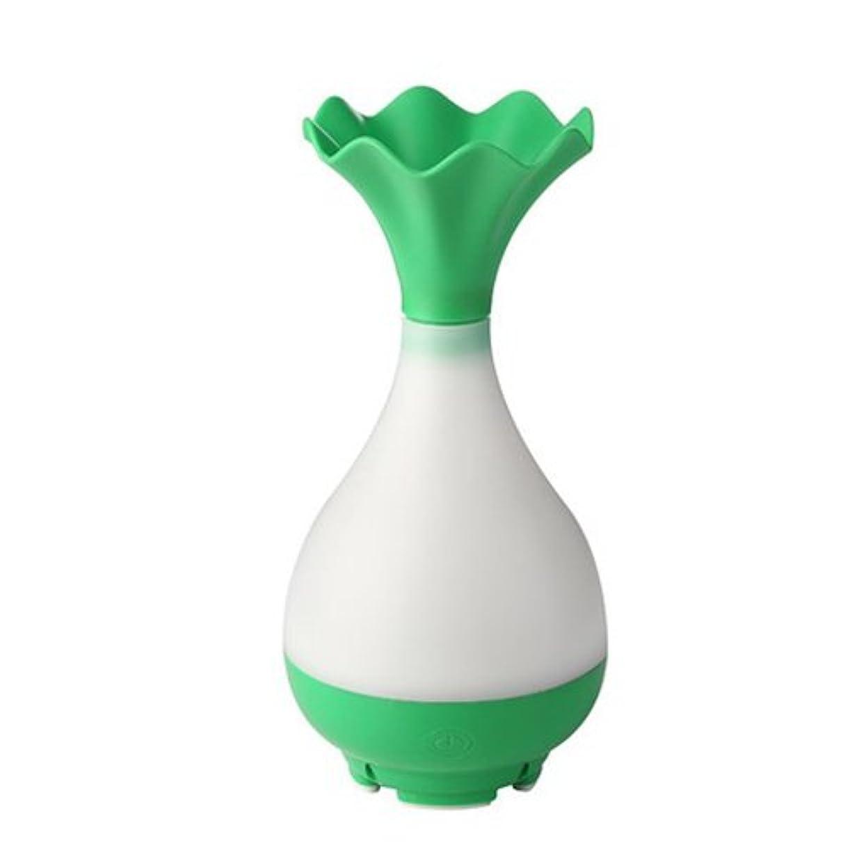 試す魅力滞在Mystic Moments   Green Vase Bottle USB Aromatherapy Oil Humidifier Diffuser with LED Lighting