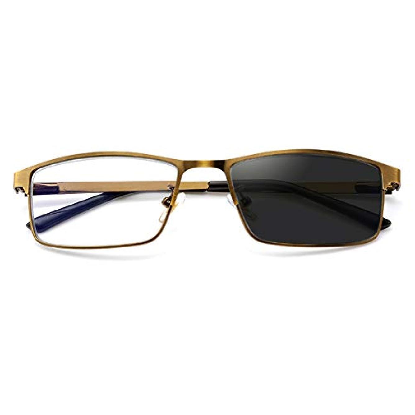 スナップ損なうモーターファッション新しいトレンドサンフォトクロミック老眼鏡、多焦点視度調節可能なメガネ、アンチアイストレイン、UVプロテクション、アウトドアスポーツの読書に適しています