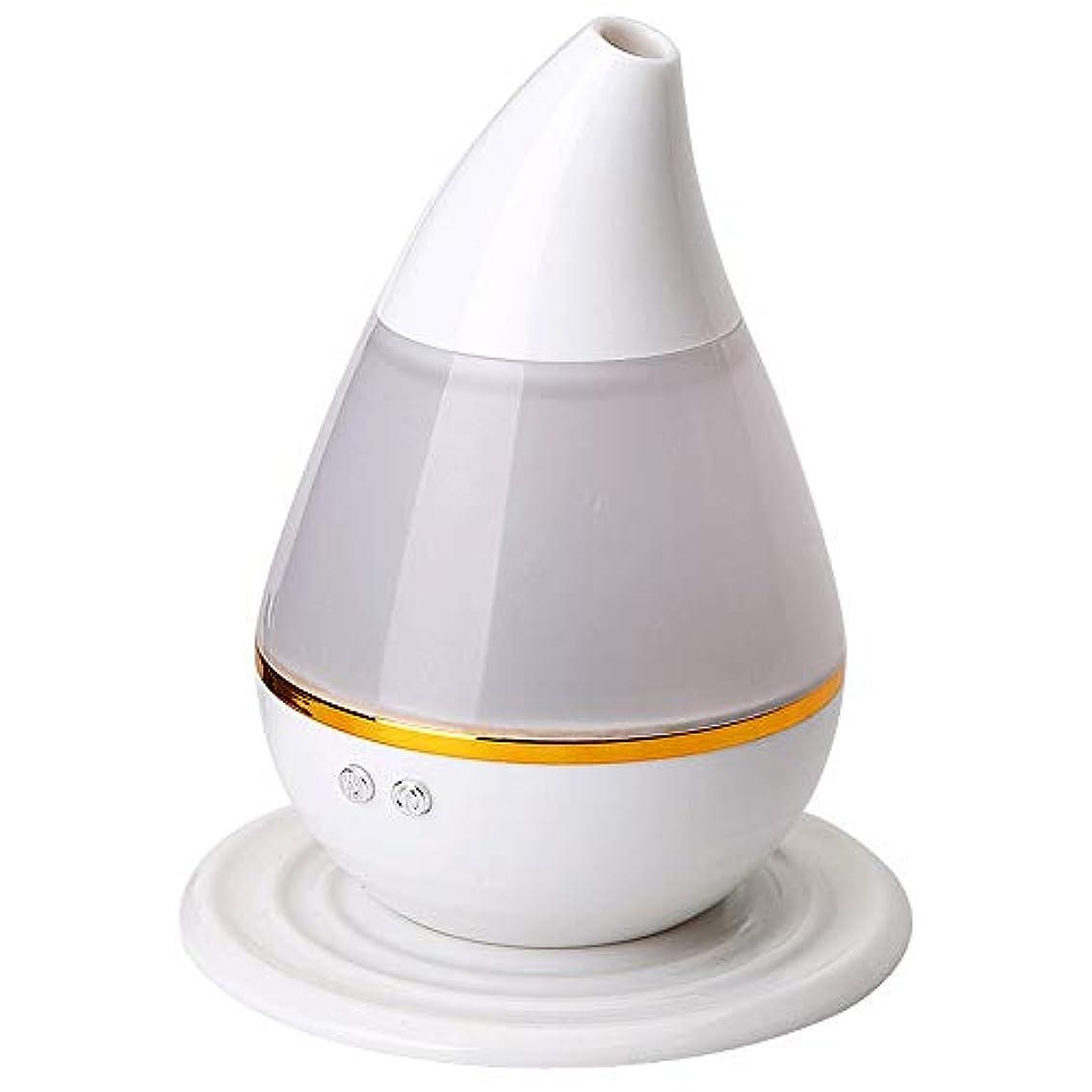 インタビューでホラーエッセンシャルオイルディフューザー250ML水滴形状は、ミストアロマディフューザーウィスパー静かな加湿器ホームオフィスをクール (Color : White, Size : 12×15)