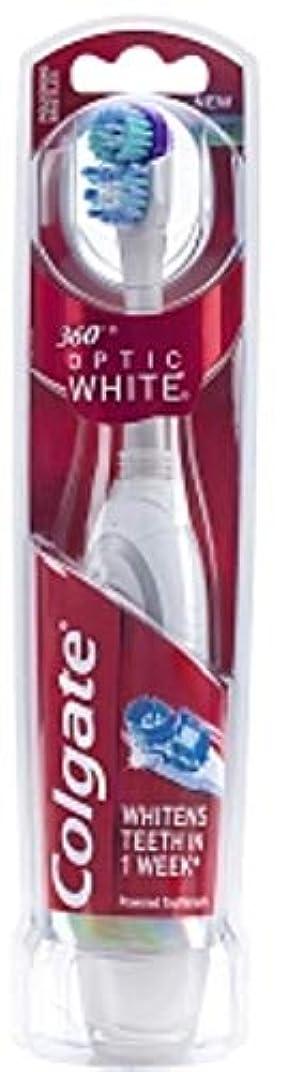 時計回り繁栄するあいまいなColgate 360ファイバーホワイトバッテリ駆動歯ブラシ、ソフト1つのEA(10パック)