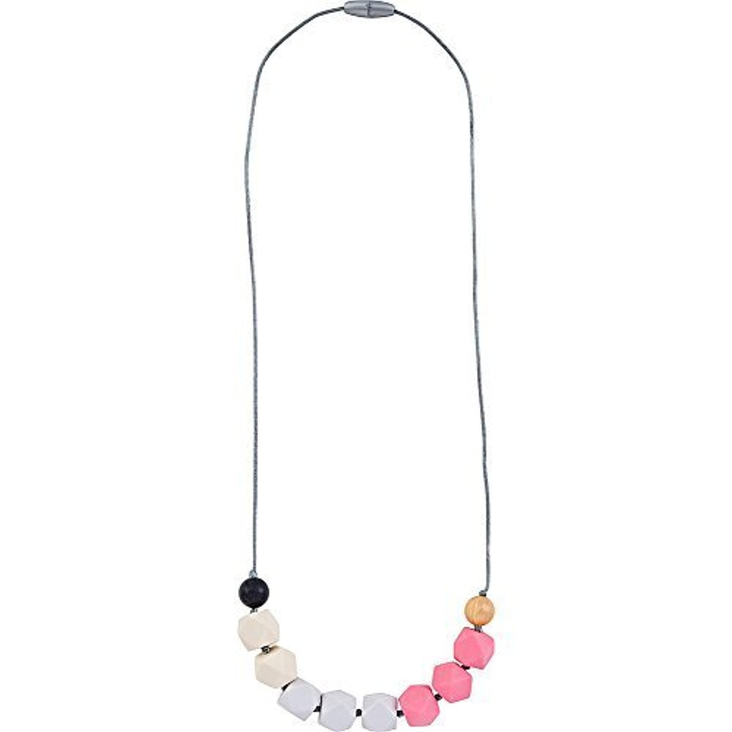 Itzy Ritzy Teething Happens Cube Bead Necklace (Opal Blush) [並行輸入品]