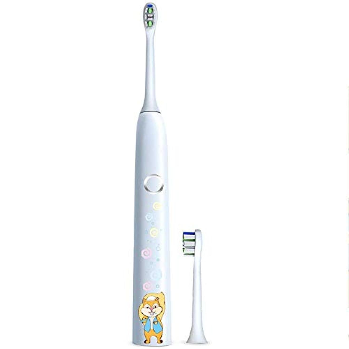 イディオム一時的既婚電動歯ブラシ 子供の電動歯ブラシ保護クリーンUSB充電式ソフトヘア歯ブラシ歯医者推奨 ケアー プロテクトクリーン (色 : 白, サイズ : Free size)
