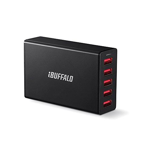 iBUFFALO 5ポートタイプ (40W)8A USB急速充電器 iPhone Android IQOS Glo Nintendo Switch 動作確認済 ブラック BMP40WP5BK