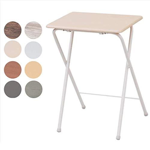 [山善] テーブル ミニ 折りたたみ式 サイドテーブル 幅50×奥行48×高さ70cm ハイタイプ ナチュラルメイプル/アイボリー YST-5040H(NM/IV)
