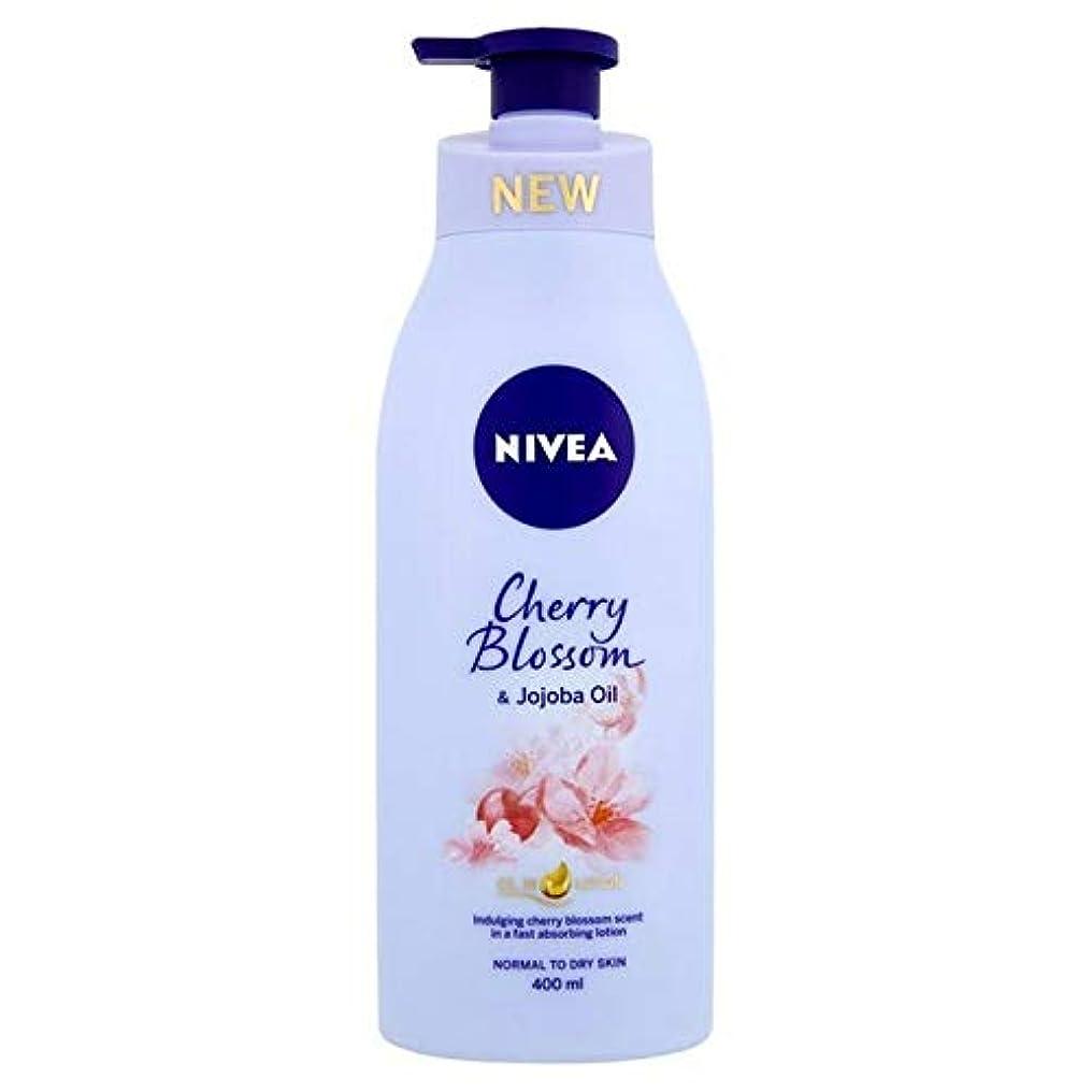 貧しいほめるクリスチャン[Nivea ] ニベア桜&ホホバオイルボディローション400ミリリットル - Nivea Cherry Blossom & Jojoba Oil Body Lotion 400ml [並行輸入品]