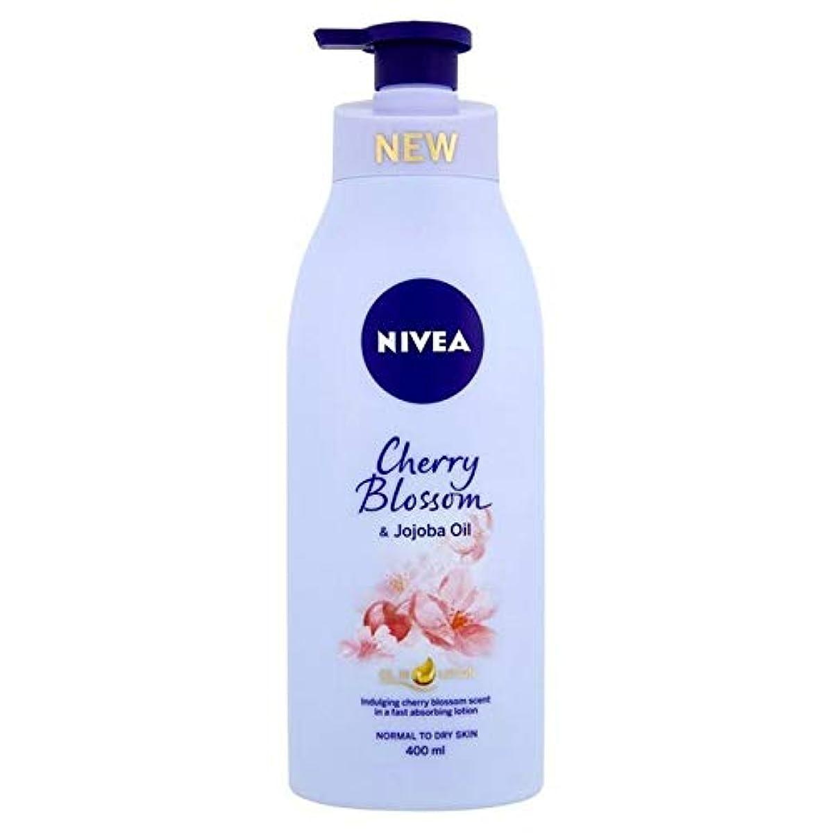 平衡つづり物足りない[Nivea ] ニベア桜&ホホバオイルボディローション400ミリリットル - Nivea Cherry Blossom & Jojoba Oil Body Lotion 400ml [並行輸入品]