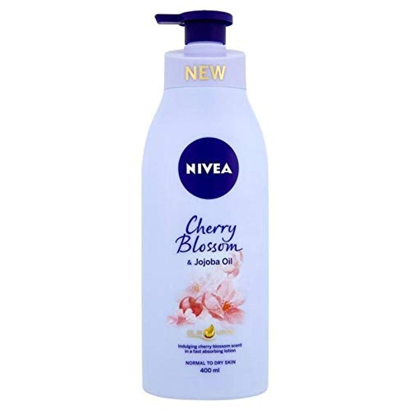 最後に分配します広い[Nivea ] ニベア桜&ホホバオイルボディローション400ミリリットル - Nivea Cherry Blossom & Jojoba Oil Body Lotion 400ml [並行輸入品]