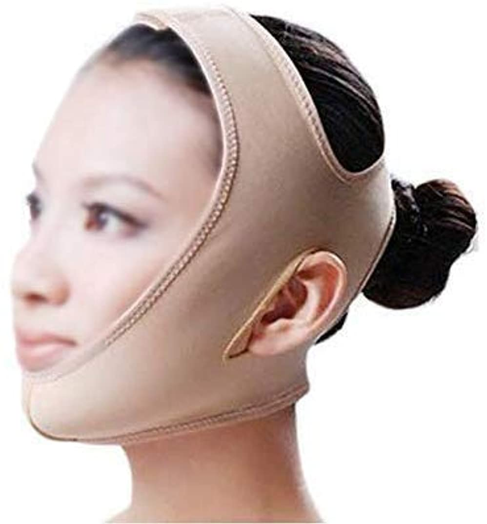 愛する達成可能実質的にスリミングVフェイスマスク、ファーミングフェイスマスク、マスクフェイシャルマスクビューティーメディシンフェイスマスクビューティーVフェイスバンデージラインカービングリフティングファーミングダブルチンマスク(サイズ:L)
