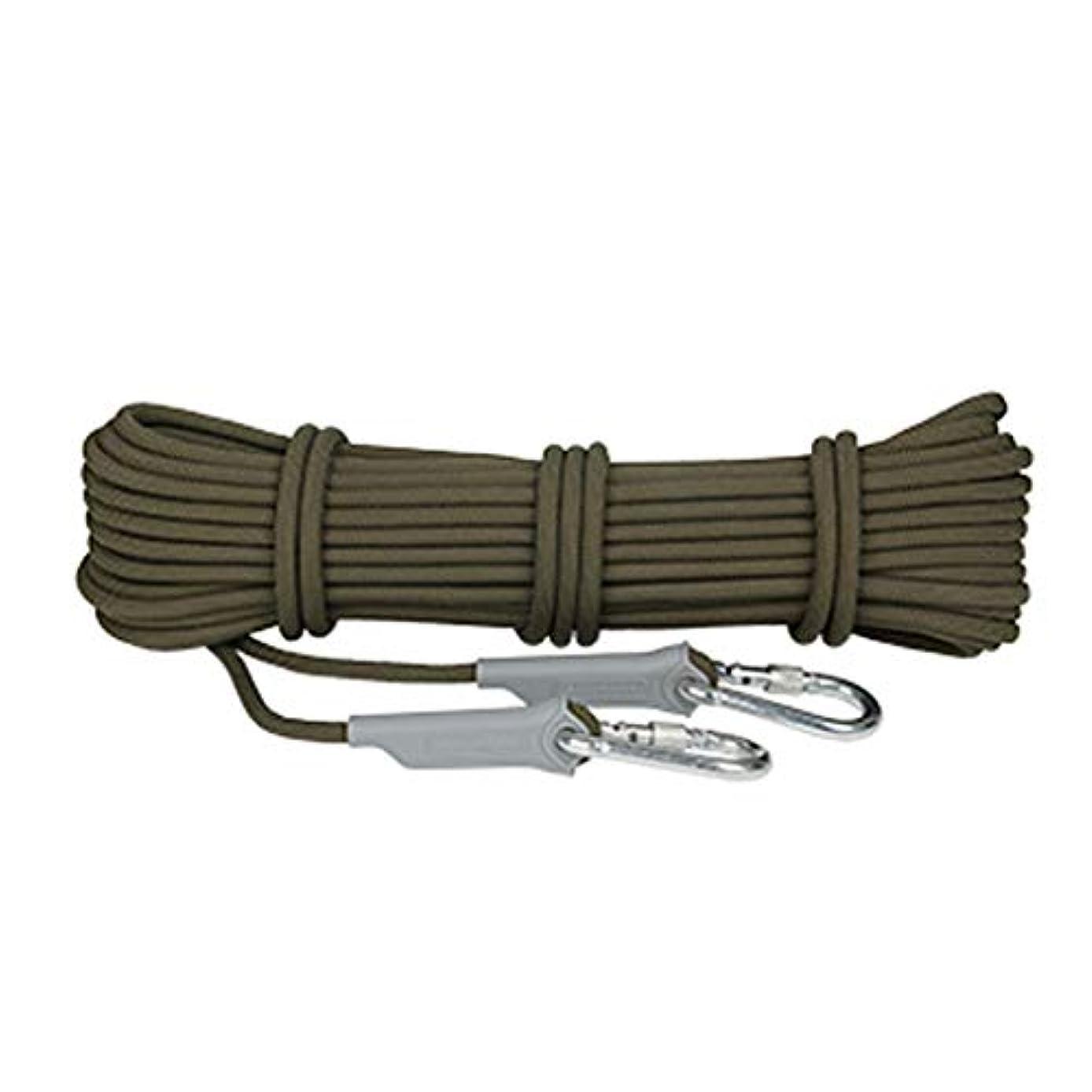 地域の汚すアプローチクライミングロープ、直径9.5mm屋外用マウンテンライフラインエスケープレスキュー装置、10m超軽量、速乾性耐摩耗性安全ロープ(色:ArmyGreen、サイズ:10m)