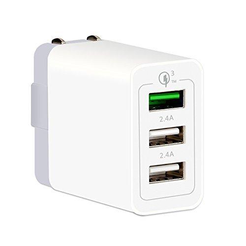 急速充電器 USB充電器 ACアダプタ QualComm QC3.0対応 3ポート同時充電可能な急早充電ACアダプタ iPadでも2.4Aの急速充電 Xperia/Galaxy/Zenfone/Huawei/iPhone/iPad